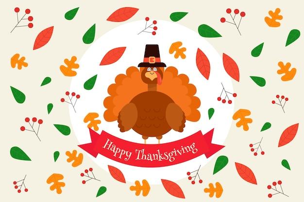Flat design happy thanksgiving background with turkey