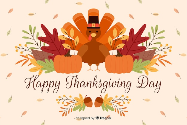 Flat design of happy thanksgiving background