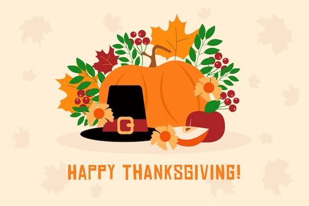 Flat design happy thanksgiving wallpaper with food