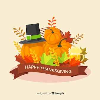 Flat design happy thanksgiving wallpaper
