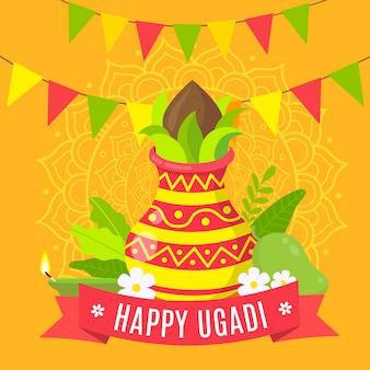 Flat design happy ugadi day celebration Free Vector