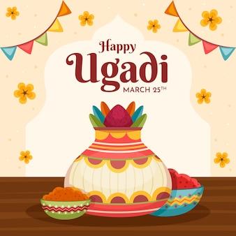 Flat design happy ugadi day concept