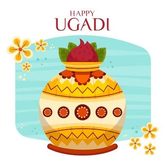 Flat design happy ugadi day