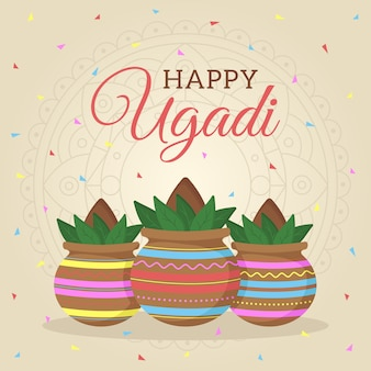 Flat design happy ugadi festival