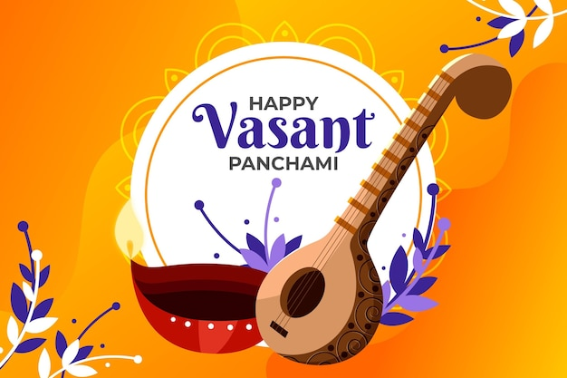 Flat design happy vasant panchami and leaves