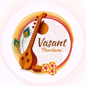 Flat design happy vasant panchami