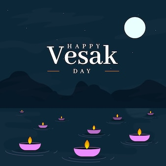 Flat design happy vesak day greeting