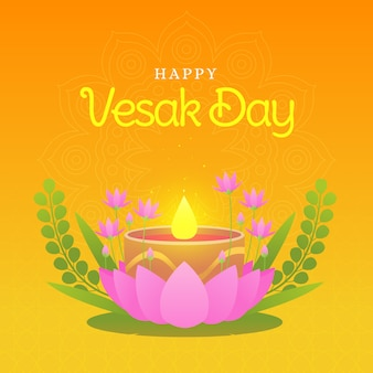 Flat design happy vesak day theme