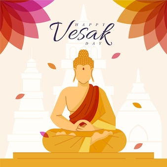 Flat design happy vesak day