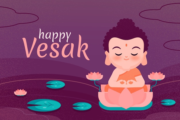 Flat design happy vesak design