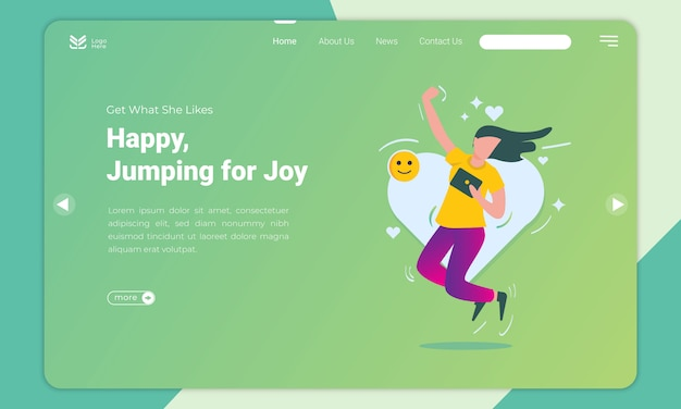 Flat design of happy woman and jumps for joy landing page template