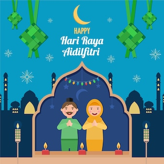 Flat design hari raya aidalfitri and couple