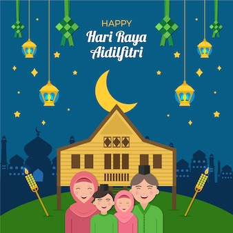 Flat design hari raya aidalfitri and family