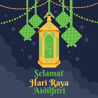 Flat design hari raya aidalfitri green and golden lantern