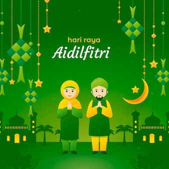 Flat design hari raya aidalfitri  people greeting