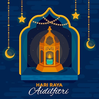 Flat design hari raya aidilfitri with candle