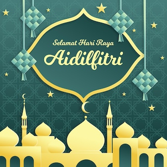 Flat design hari raya aidilfitri with mosque and ketupat