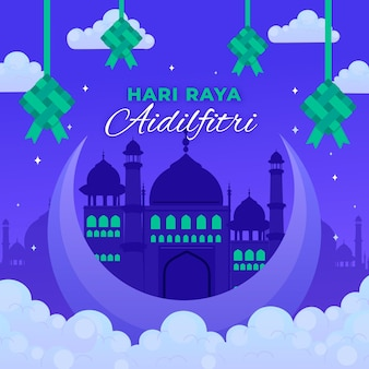 Flat design hari raya aidilfitri with mosque