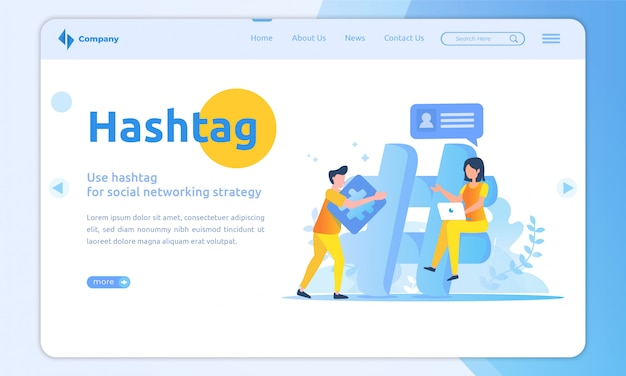 Flat design hashtag landing page template