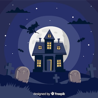 Flat design of haunted house background