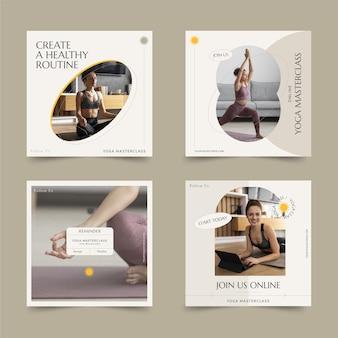 Flat design health and fitness posts set