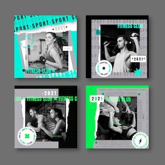 Set di post di salute e fitness dal design piatto