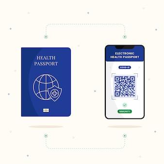 Flat design health passport for covid immune people