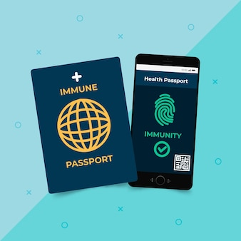 Flat design health passport for covid immune people