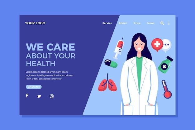 Pagina di destinazione sanitaria dal design piatto