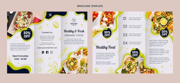 フラットなデザインの健康的で生鮮食品のパンフレット