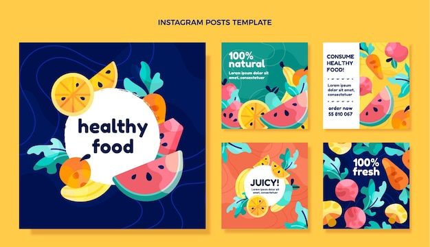 Flat design healthy food instagram posts
