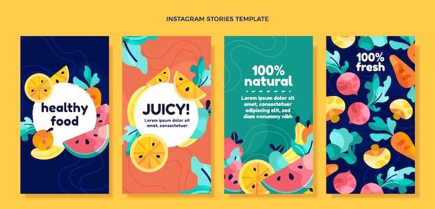 Flat design healthy food instagram stories