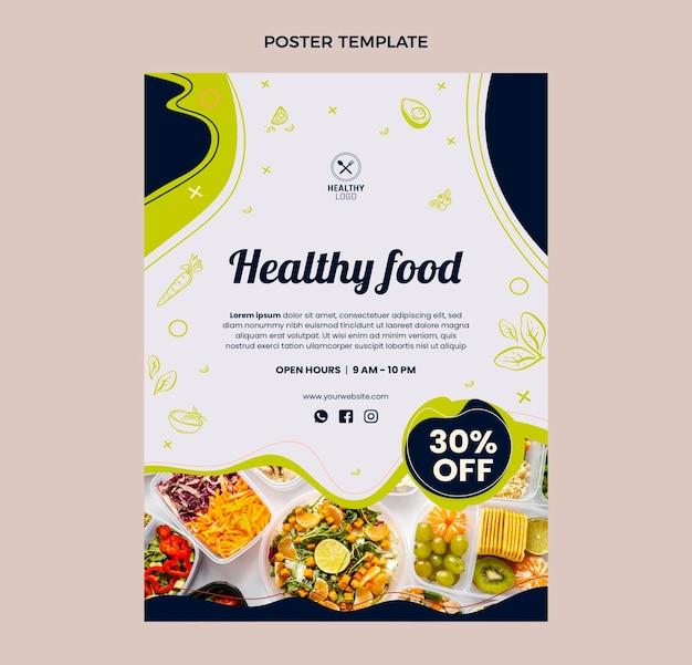 Плоский дизайн плаката здорового питания
