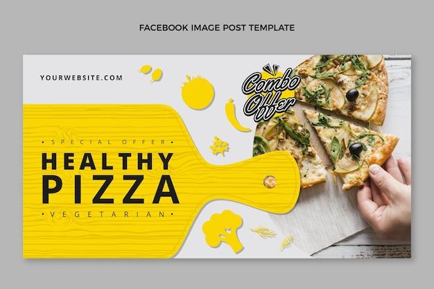 평면 디자인 건강한 피자 페이스 북 게시물