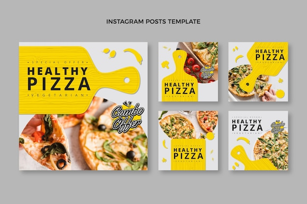 Flat design healthy pizza instagram posts