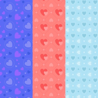 Flat design heart pattern collection