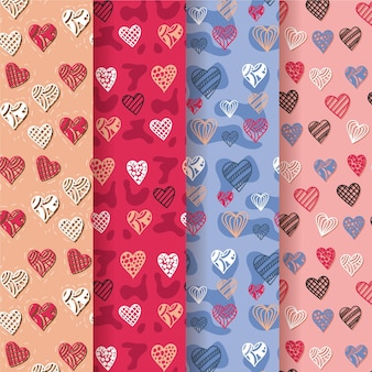Плоский дизайн коллекции сердца