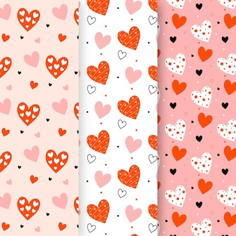 Flat design heart pattern pack