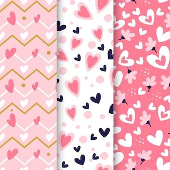 Flat design heart pattern set