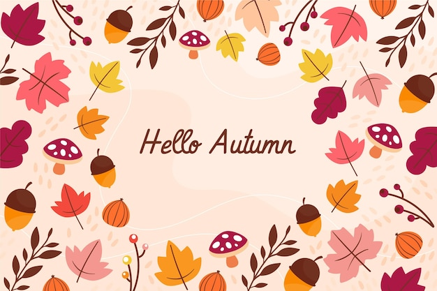 Flat design hello autumn background
