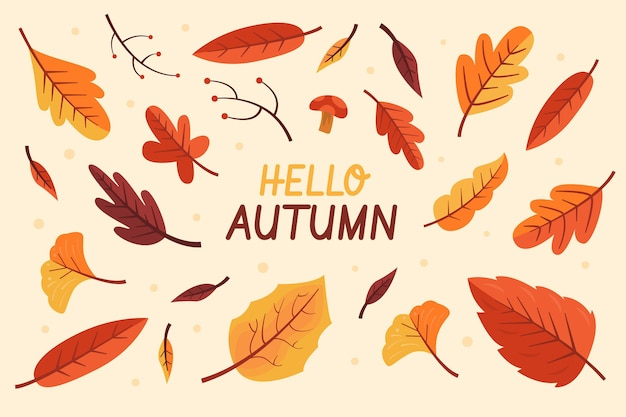 Flat design hello autumn leaves background