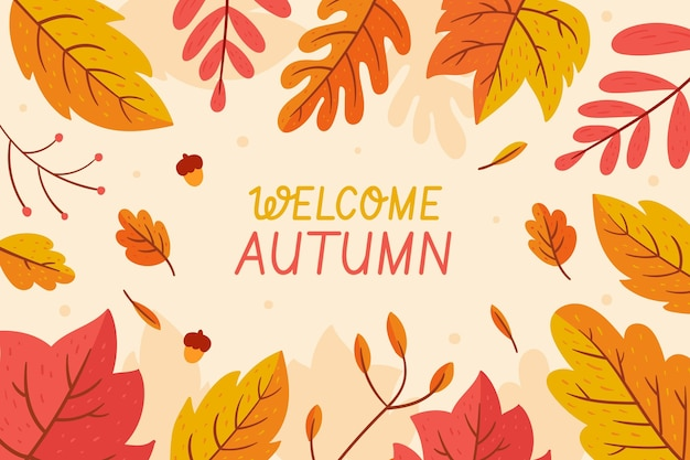 Flat design hello autumn leaves wallpaper