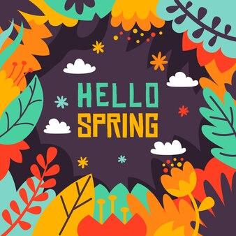 Flat design hello spring background