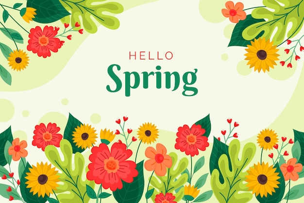 Flat design hello spring background