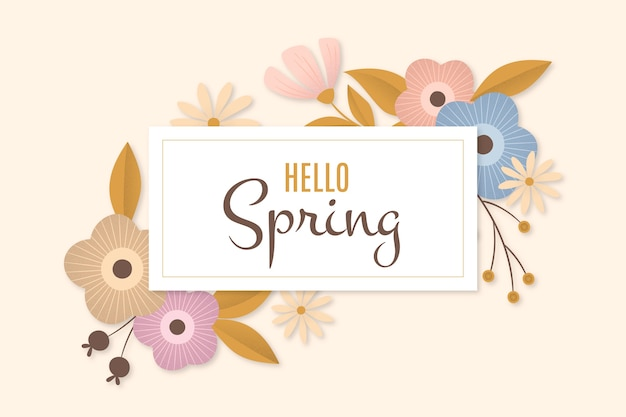 Flat design hello spring colourful floral frame