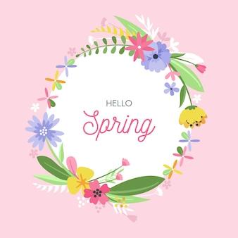 Flat design hello spring floral frame