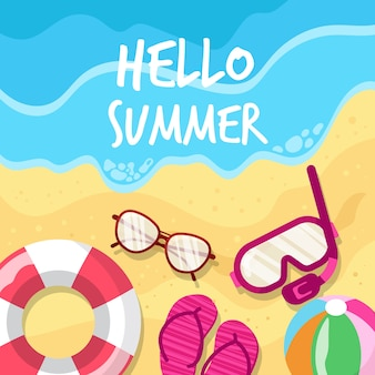 Flat design hello summer and beach accessories
