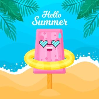 Flat design hello summer concept