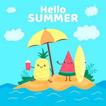평면 디자인 안녕하세요 여름 개념