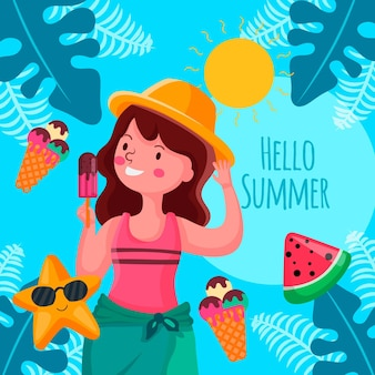 Flat design hello summer concept